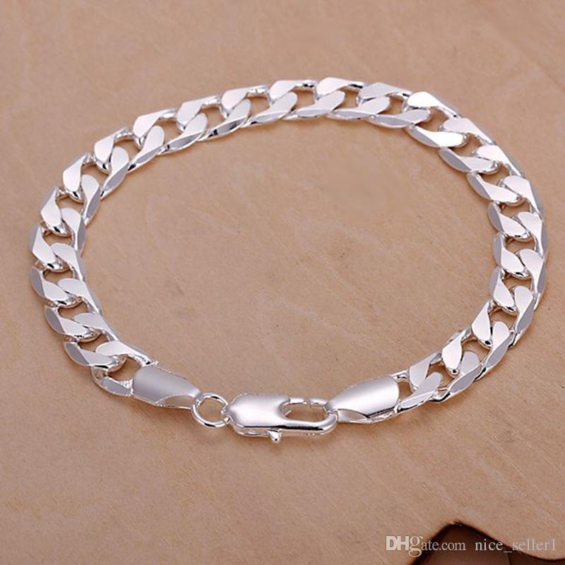 2a4e097e2401a7 2019 Xmas Fine 925 Sterling Silver Bracelet,Lose Money Fashion Jewelry 925 Silver  Cuban Curb Link Chain 6MM 8MM Bracelet Bangle For Women Men From ...