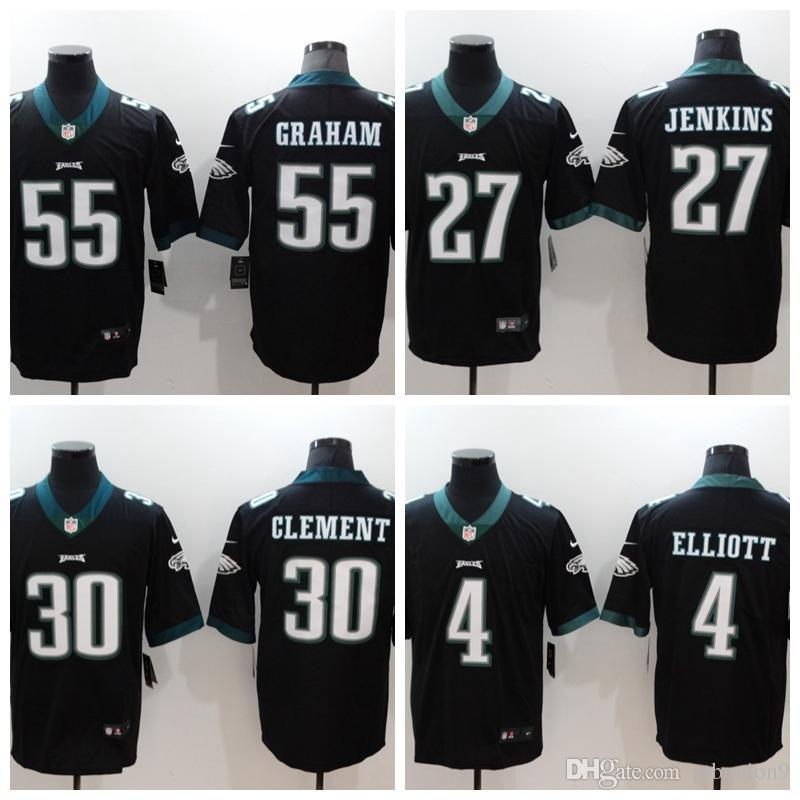 the best attitude 29fe9 31387 2018 Mens Philadelphia #27 Malcolm Jenkins 30 Corey Clement 4 Elliott 55  Brandon Graham Black Short sleeve Limited Eagles Jerseys