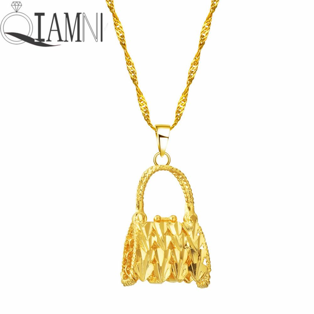 ff577b6c53e15 Wholesale qiamni gold tone handbag purse pendant necklace jpg 1000x1000 24k  gold pendant