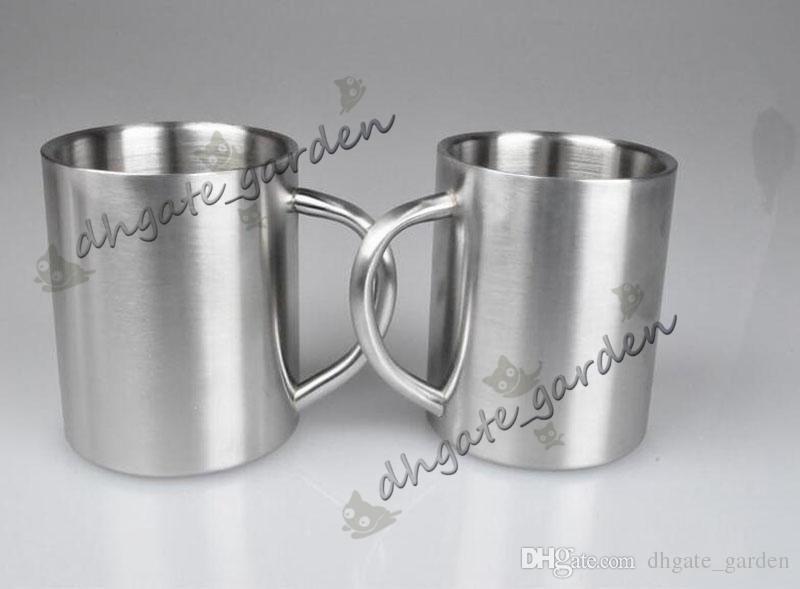 Çift katmanlı Kısa Paslanmaz Çelik Kahve Kupa Katı Renk Taşınabilir Süt Su Bardağı Seyahat Kamp Drinkware