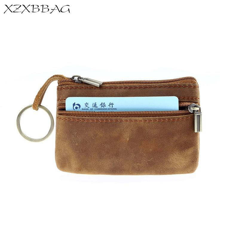 a023e0fb XZXBBAG Genuine Leather Coin Purse Men Zipper Small Wallet Male Change  Purse Money Bag Keychain Zero Wallet