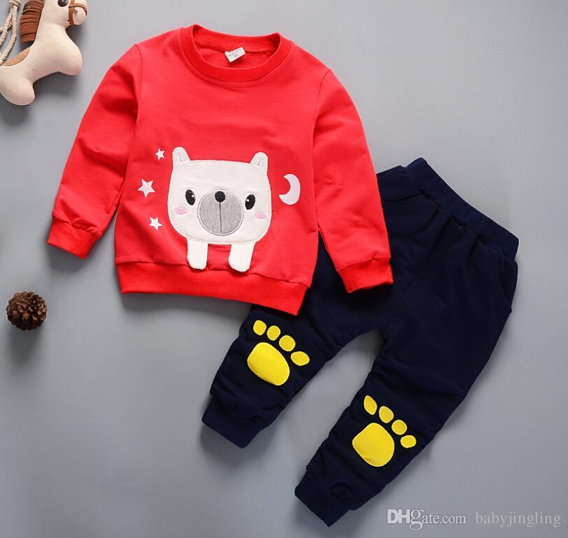 8f00e3dda6d91 Baby boys clothing sets 2018 spring autumn children girls boys cartoon Dog  sport suit kids sweatshirt pants tracksuit sets