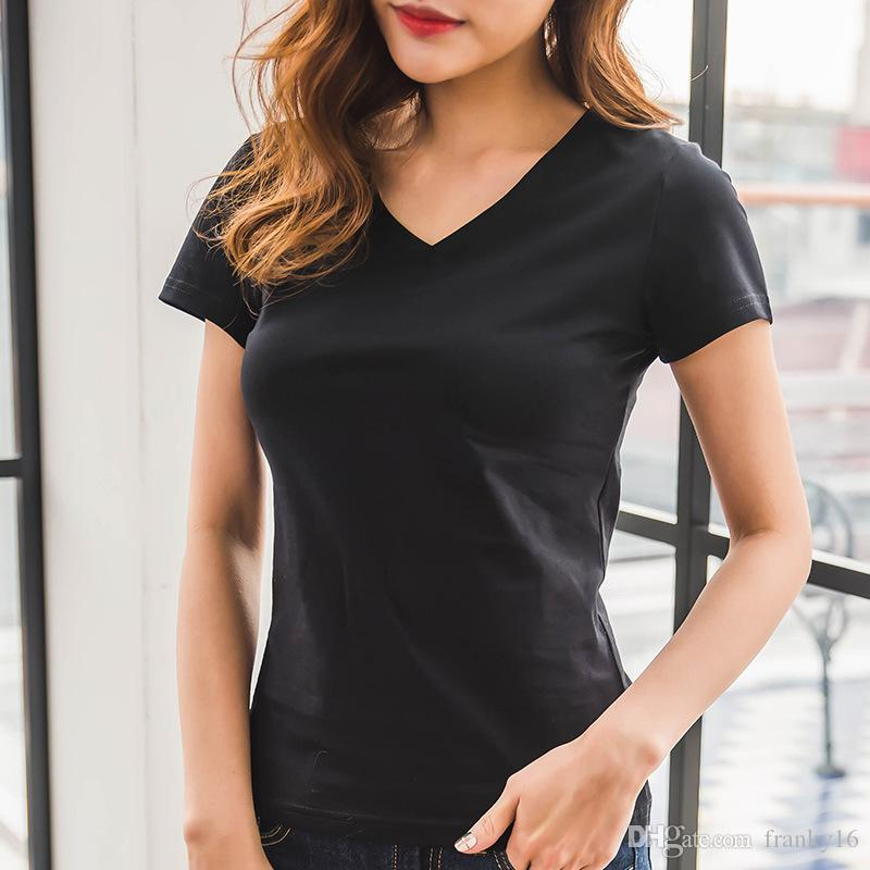 f2d241ffde7 2018 Hot Sale Women O Neck Or V Neck Solid Casual Cotton T Shirt Short  Sleeve T Shirt For Women Size S 2XL With Large Stock Shirts Design Online T  Shirts ...