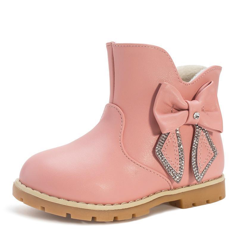 d67e02c221d59 Acheter Enfants Pluie Hiver Fille Bottes Chaussures Bébé Hiver Chaussures  Enfants Pour Fille Garçons En Cuir Anti Slip Chaud Tendance De La Mode De  Bottes ...