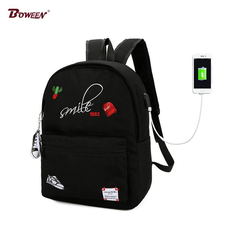 6301917df96e Teens Canvas Boy School Bags For Teenage Girls Backpack Schoolbag Women Usb  Student Bags Men Black Book Bag For Teenagers Y18110107 Big Stylish  Backpacks ...