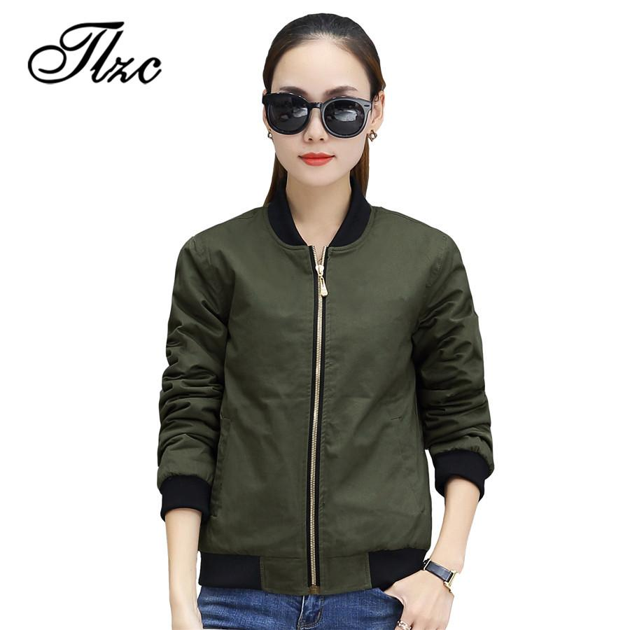 760797ed6 TLZC New Women Bomber Jacket 2018 Size M-2XL Women Casual Thin Windbreaker  Zip up Baseball Coats Female Basic Jacket