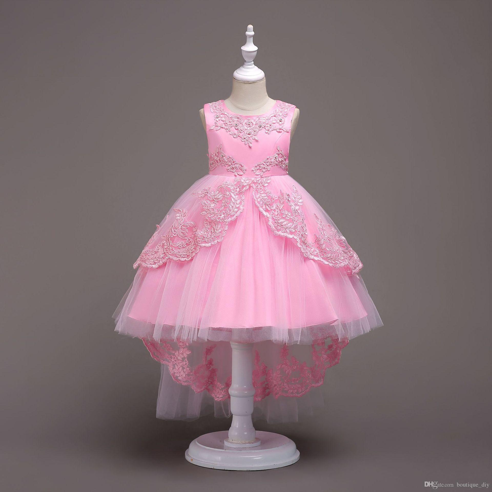 Girls White Lace Flower Wedding Dresses Princess Snow White A Line ... ba26d4c0d