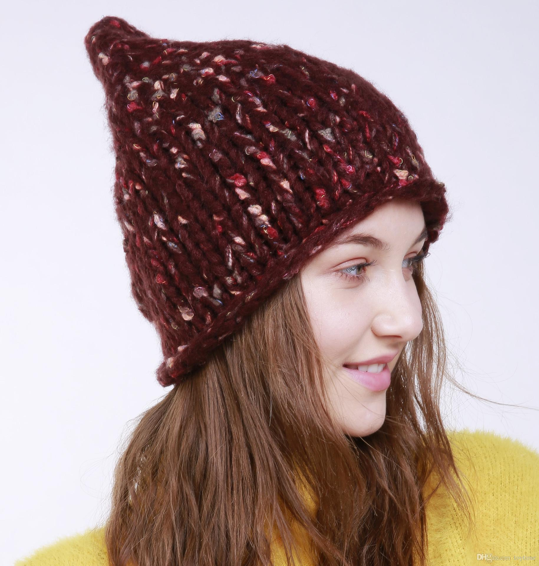 Hot Sale New Autumn And Winter Thick Wool Hat Women Popular Knit Hat Short  Brim Hats For Black Baseball Cap Knitted Hats From Toytime e52e84ff4a9f