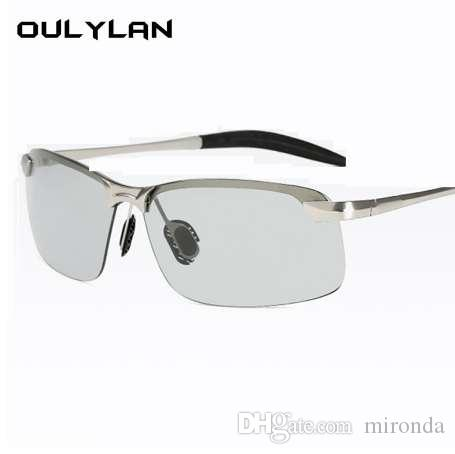 3512c36bb0 Compre Oulylan Gafas De Sol Fotocromáticas Hombres Decoloración Camaleón Polarizado  Gafas De Sol Sin Montura Masculina Día De Conducción De Gafas De Sol A ...