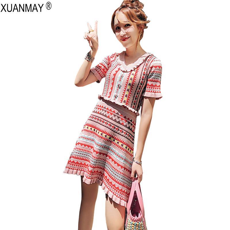 9dcac6e46ad 2019 2018 Summer Women S Bohemia Sweater Dress Streetwear Pink Short Sleeve  Knit Dress Summer Slim Jacquard Pattern Sweater From Waxeer