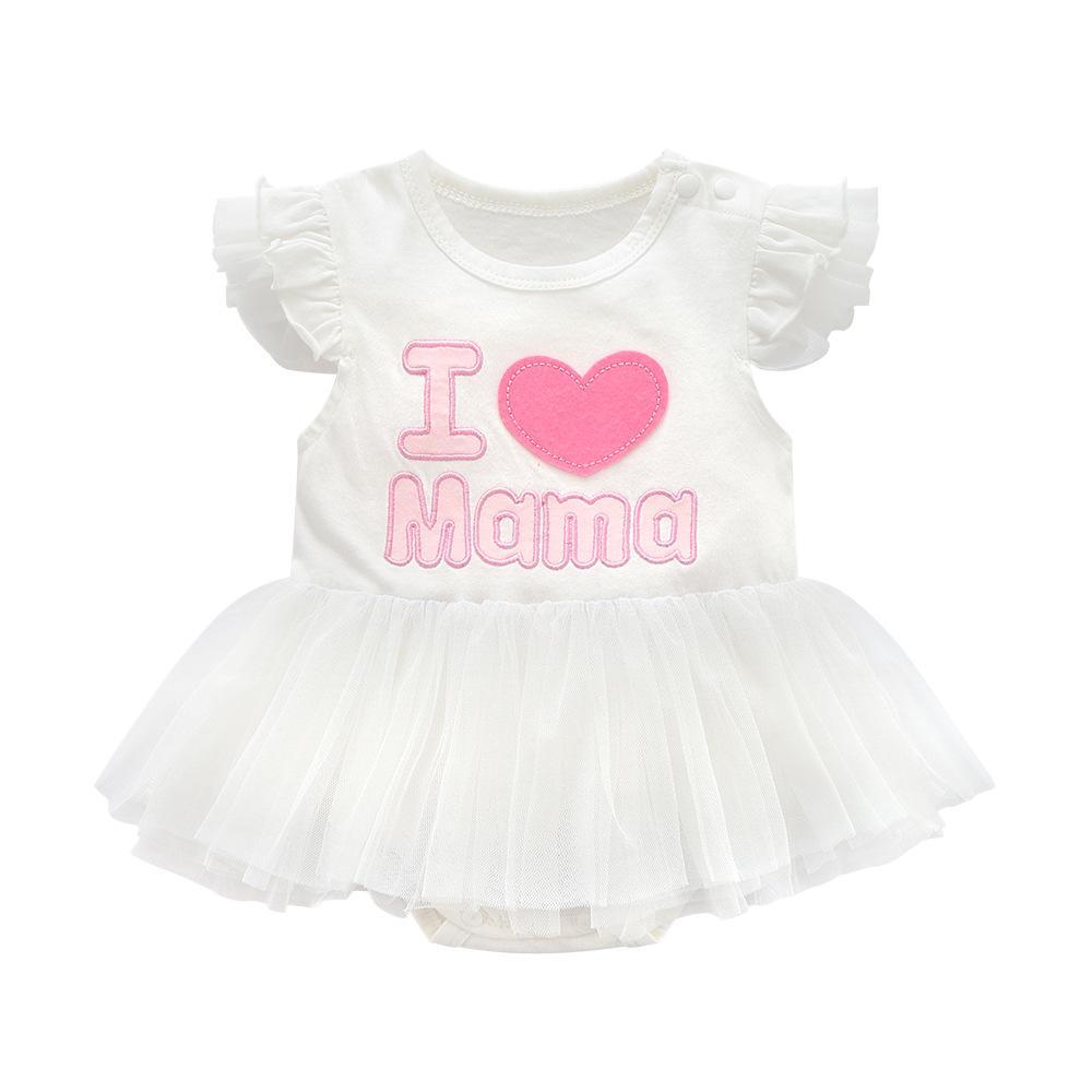 604de41a4d6ff Acheter Super Douce Princesse J aime Maman Papa Bébé Vêtements Tutu Enfants  Robes Pour Les Filles Vêtements Blanc Bébé Fille Été Vêtements Bébé De   35.66 Du ...