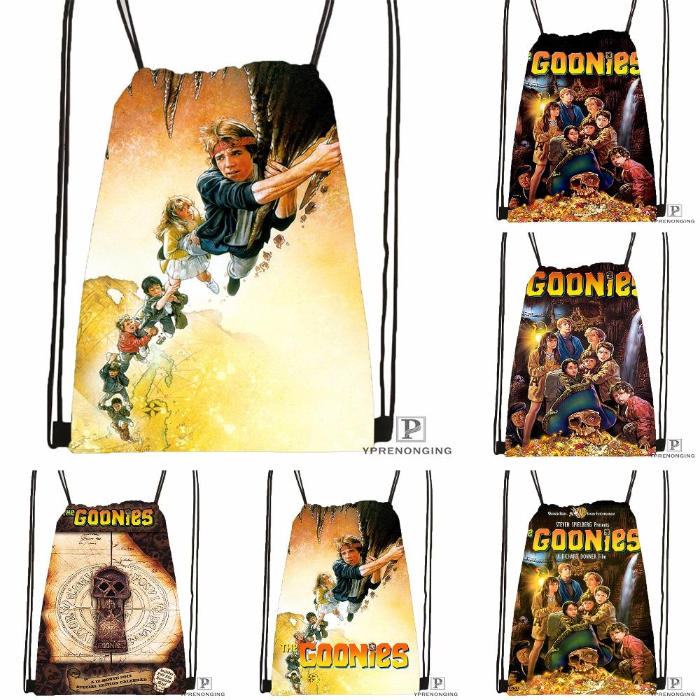 Custom the Goonies Drawstring Backpack Bag for Man Woman Cute Daypack Kids Satchel (Black Back) 31x40cm#180531-01-31