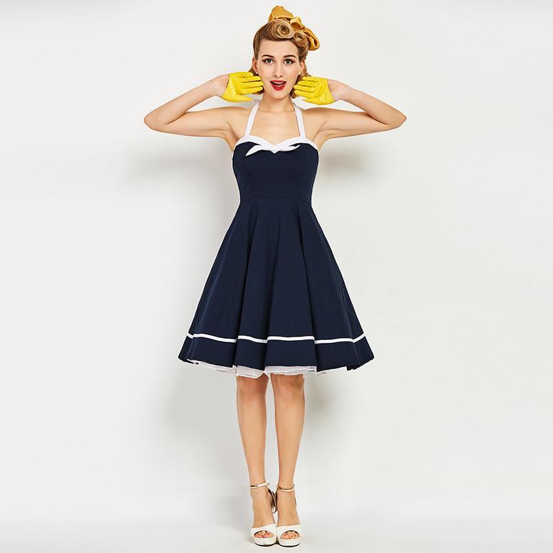 Sisjuly 1950s Vintage Dresses Summer Knee Length Women Dark Blue