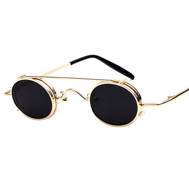 New Fashion Gold Frame Steampunk Sunglasses Vintage Men Metal ...