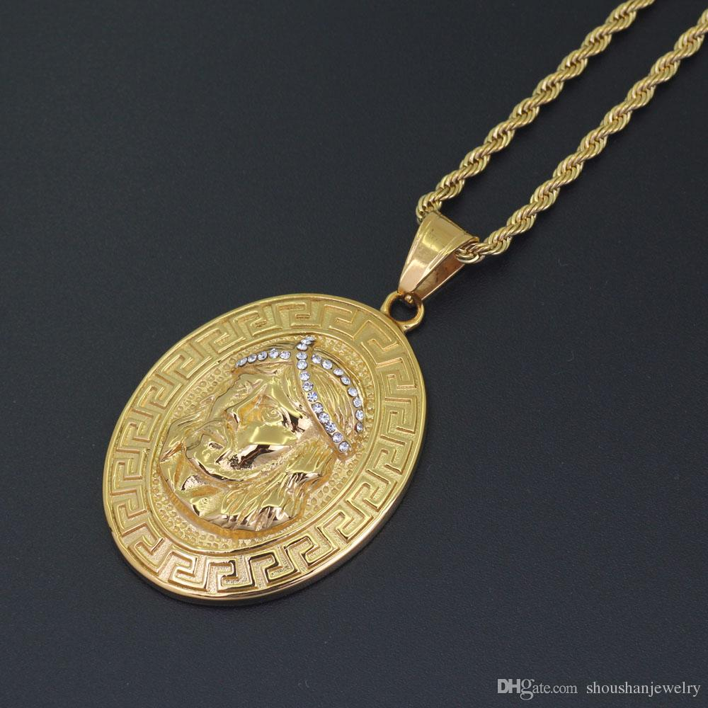 Stainless Steel Jewelry hip hop Jesus Pendant Necklace with 3mm 24inch Rope Chain SN118