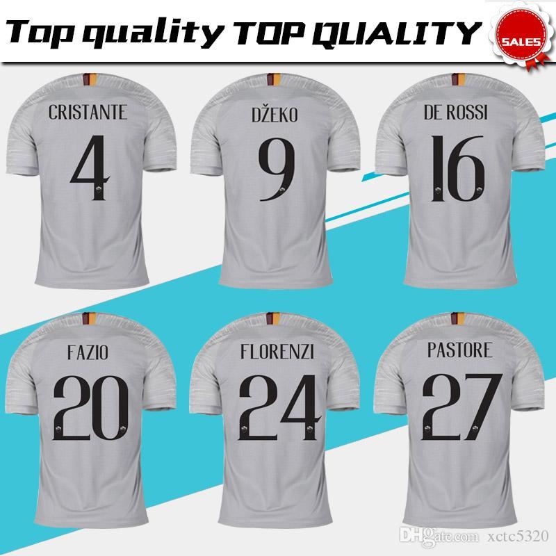 e8f86733a 2019 2019 TOTTI Roma Away Grey Soccer Jersey 18 19  16 DE ROSSI Roma Soccer  Shirt Customized  9 DZEKO  92 EL SHAARAWY Football Uniform From Xctc5320