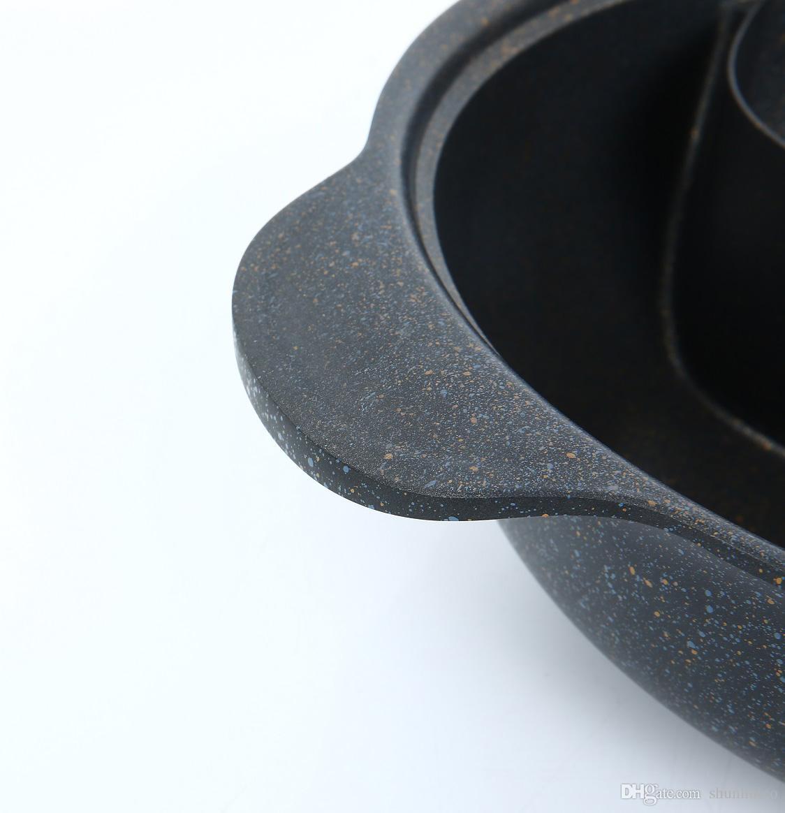12 inç hot pot kapaklı olmayan sopa ile sıcak pot bölücü iki-lezzet sıcak pot için indüksiyon ocak gaz sobası kolay temiz ücretsiz DHL tarafından nakliye