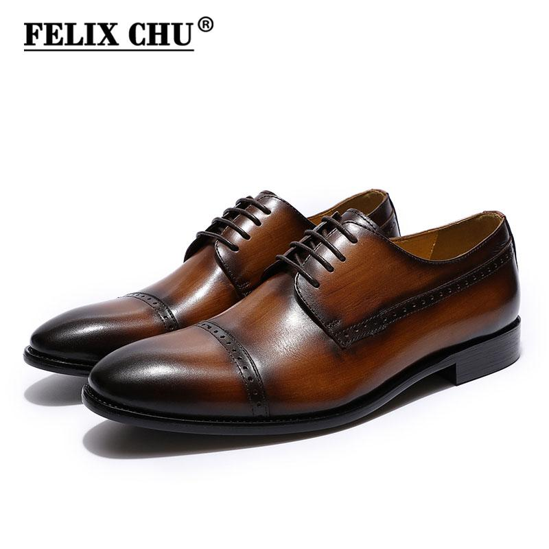 b7c343fdad5a FELIX CHU Men S Cap Toe Brogue Derby Shoes Black Brown Genuine Leather Lace  Up Men Luxury Dress Shoes Male Oxford New Cheap Trainers Blue Shoes From ...
