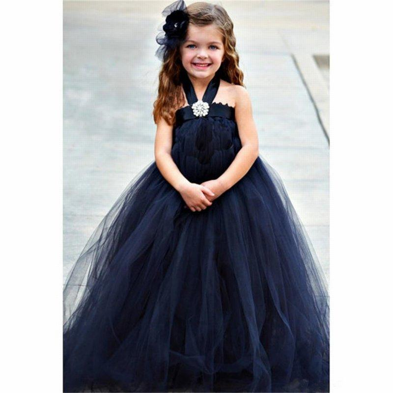Girl's Fashion Halter Tulle Custom Cute Gown Flower Girl Dress Floor Length Hand Made Flowers Bows Kids Wedding Party Birthday Dress