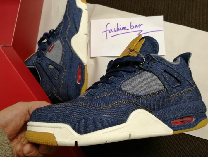 Bleu Acheter Hommes Chaussures De Jeans Basket Denim 4s Avec 3cLA4qj5RS