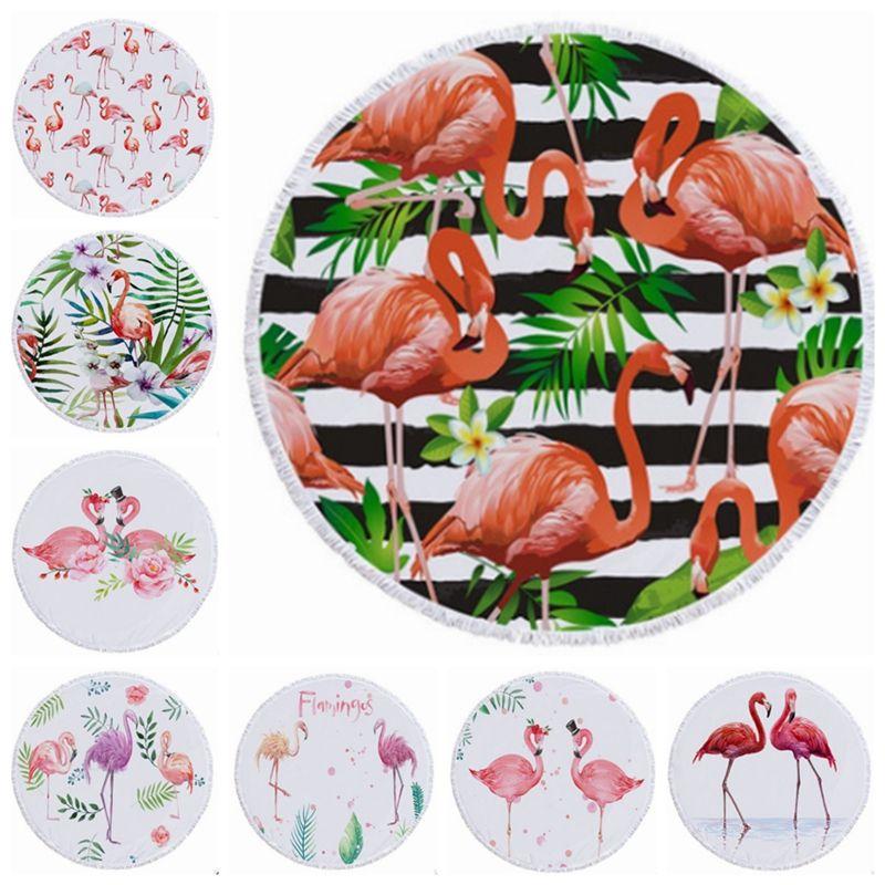 427b751a4d0ec Flamingo Beach Towel Tassels Round Beach Towels Plus Size Picnic Rug Women  Bikini Cover Up Yoga Mat 5 Designs YW1128 Big Beach Towel Cheap Bathroom  Towels ...