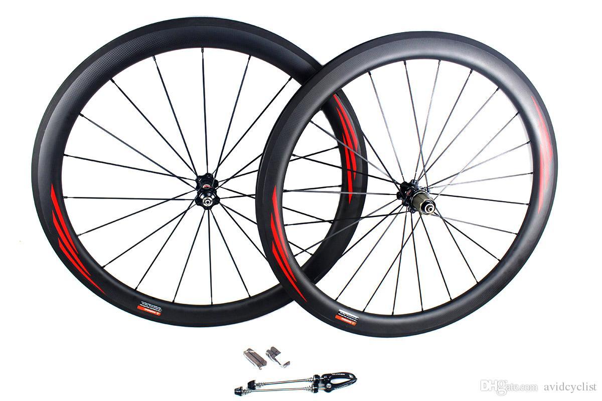 Ruote da strada bici da strada in fibra di carbonio 50mm 700C superficie del freno basalto copertoncino tubolare da corsa bici da corsa ruote larghezza cerchio 25mm 3k opaco