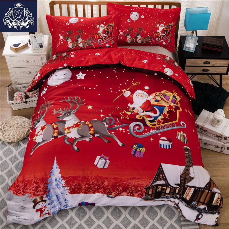 Wholesale Christmas Bedding Red Color Santa Claus Bed Linen ...