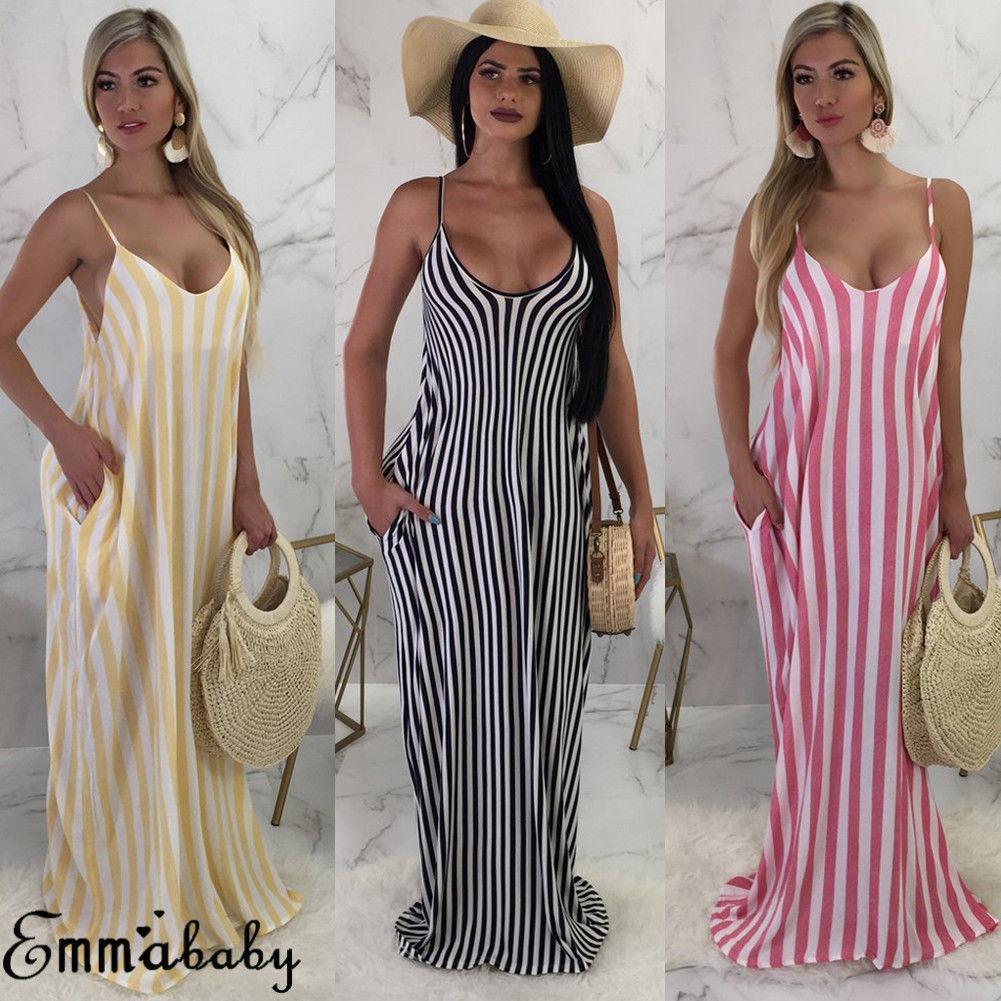 ba49b5e9e2e Summer Ladies Women Dress Boho Long Maxi Dress Party Evening Beach Sundress  Sleeveless Striped Loose Vestido White Formal Dresses Short Prom Dress From  ...