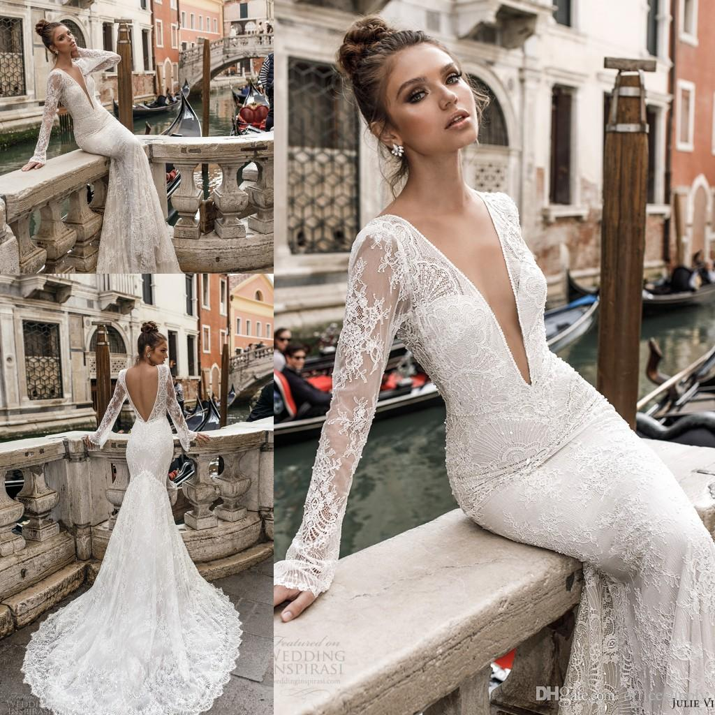2018 Full Lace Wedding Dresses Sheer Long Sleeves Plunging V Neck Sexy Backless Mermaid Bridal Gowns Vintage Wedding Wear