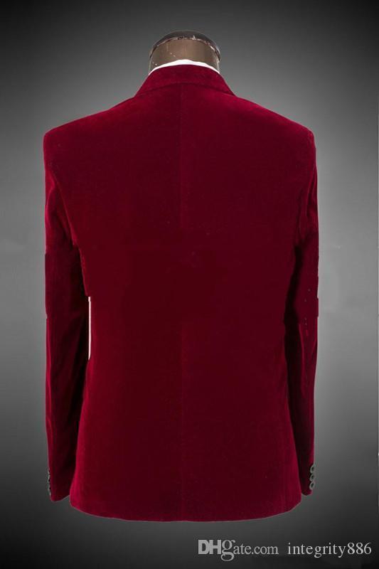 Новое прибытие Красный бархат жених смокинги остроконечные лацкан одна кнопка друзья жениха мужчины формальные костюмы бизнес выпускного вечера костюм настроить куртка+брюки+галстукнет: 69