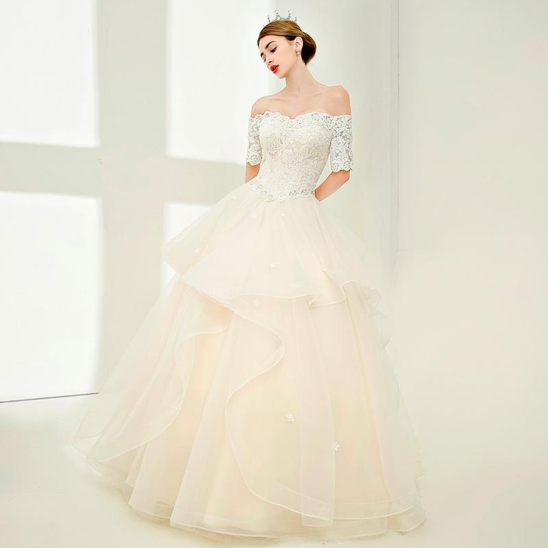 2018 Modest Wedding Dresses Plus Size Beaded Tiered Princess Bridal ... 9df4a8f7da34