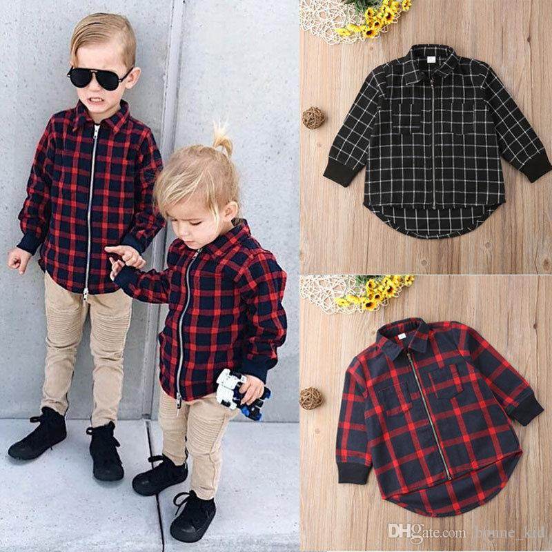 774231b4 Kid Boy Girl Long Sleeve Zipper Plaids Shirt Red Black Checks Shirt Two  Colors Tops Blouse Casual Baby Clothes Kids Clothing 1 5Y Cheap T Shirts  For Boys ...