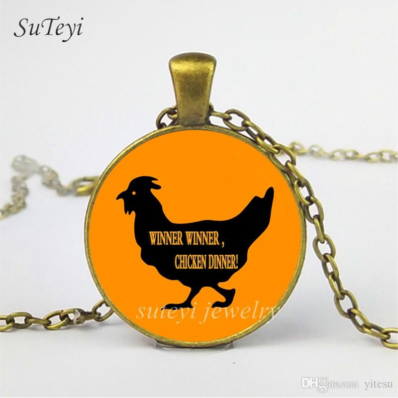 SUTEYI Personality Print Games Pattern Art Necklace Winner Winner Chicken Dinner Glass Dome Pendant PUBG Long Chain Mens Necklaces Jewelry