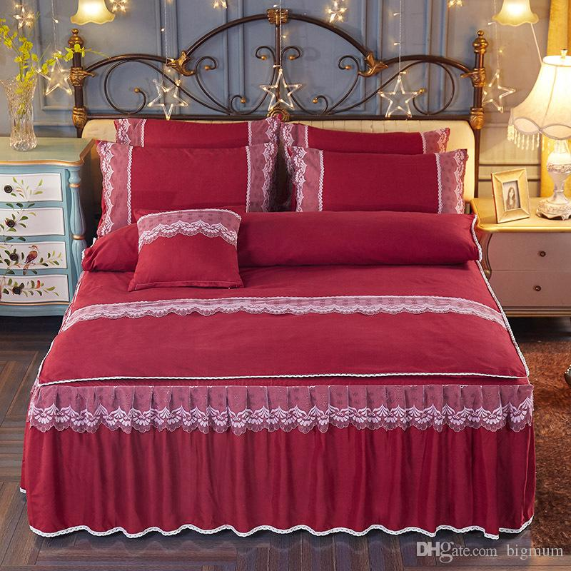 Modern Pattern Polyester Solid Color Bed Skirt for Wedding Decoration Women Girls Queen/King/Twin Size 4pcs Bed spreads