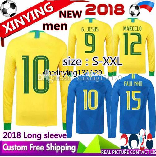 18a5e7182 2019 Long Sleeve Jerseys 2018 P.COUTINHO PAULINHO MARCELO RONALDINHO DAVID  LUIZ G.JESUS Soccer Jersey World Cup Home Away Football Shirt From  Xinying131129