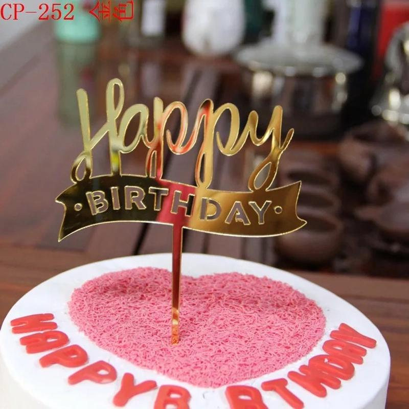 2019 Acrylic Gold Red Pink Happy Birthday Cake Topper Banner Party Decoration From Zhoukougarden 3777