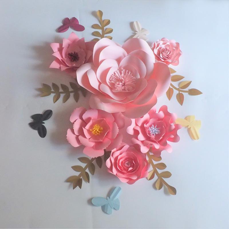 2019 Diy Artificial Large Paper Flowers Backdrop Leaves Butterflies