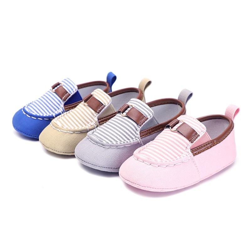afa4a51f93e 2019 Infant Baby Boys Girls Canvas Stripe Moccasins Soft Sole Anti Slip  Prewalker Toddler Shoes Spring Autumn Newborn Shoes From Namenew