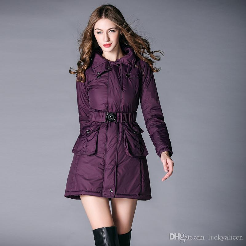 98b897ae9696 Good Quality Thick Hood Down Parkas Women With Sashes Fashion Slim ...