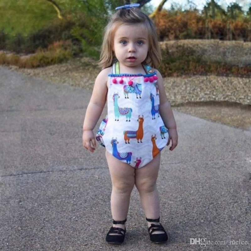 INS nouveau-nés bébés filles mignon alpaga unicron impression été barboteur infantile mode dos nu jumpsuit enfants coton gland une pièces mignon tenues