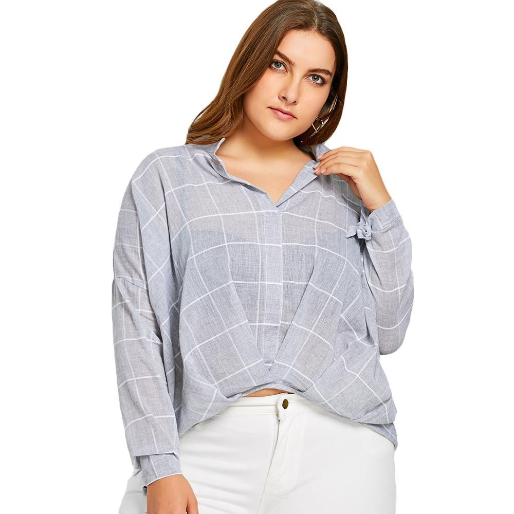 b8fe61e0124 2019 2018 New Spring Autumn Women Long Sleeve Plaid Blouse Grid High Low  Plus Size Blouse Shirt From Baimu