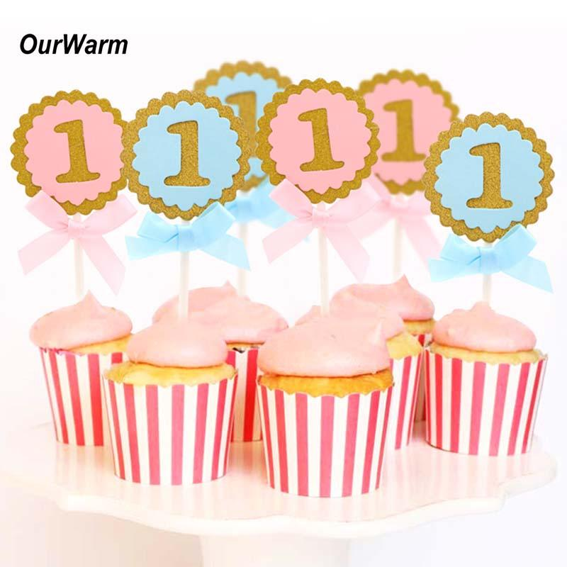 2019 OurWarm 1st Birthday Cake Toppers Party Decorations Kids Round Pink Blue Cupcake Topper Decorating Supplies From Homegarden