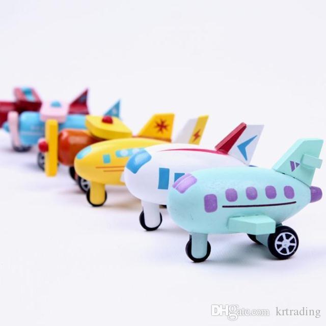 En bois mini modèle de véhicule de transport 5x3x4cm Avion Digger Bus Van modèles enfants jouets en bois bébé jouets d'apprentissage et d'éducation