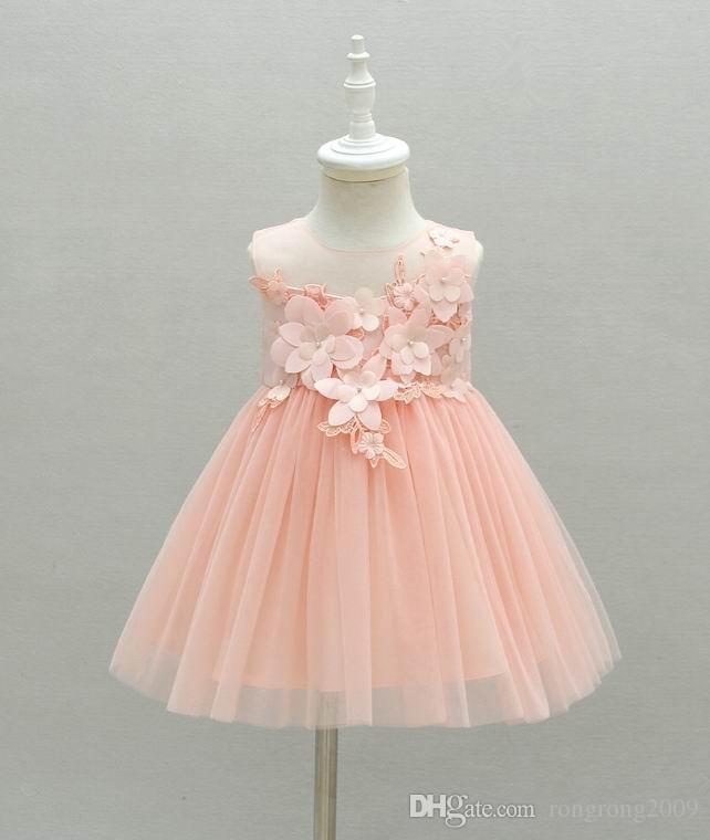 Retail Baby Girl First Birthday Dress Flowers Pink Tulle Princess Dress For Wedding Party Children Clothing 0-2Y E6112