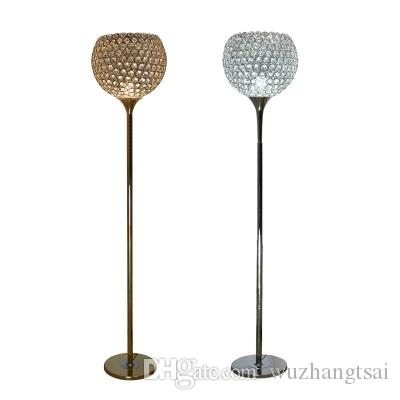 American European classic foyer stand Round ball crystal Floor lamp LED bulb optional Silver gold round ball crystal floor light