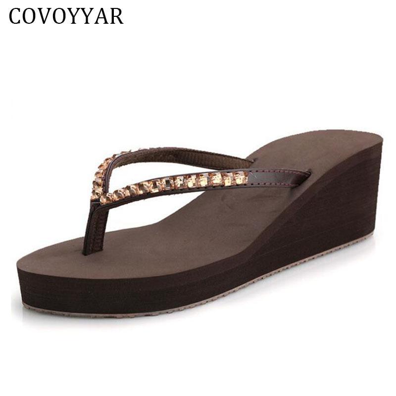 7e2f04946 COVOYYAR Luxury Wedge Rhinestone Flip Flops 2017 Summer Beach Bohemia Women  Sandals Fashion Platform Women Shoes Size 40 WSS204 Wedges Shoes Nude Shoes  From ...