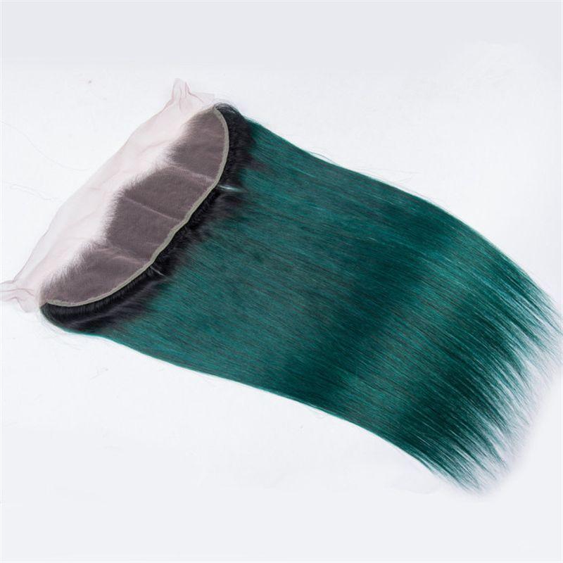 Radici scure 1B Ombre verde frontale in pizzo con fasci serici verde dritto Ombre vergini peruviane con capelli umani con frontale 13X4