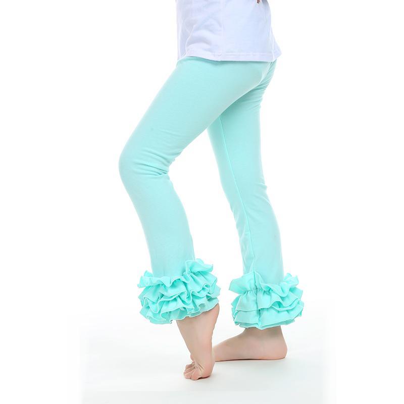 Kids clothing Plain girls ruffle leggings triple ruffle cotton pants children fancy trousers baby panty hose