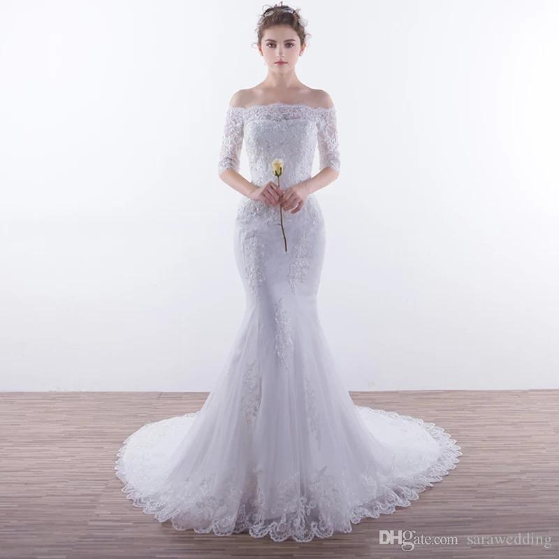 1b42526fe8f4 Lace Appliques Mermaid Wedding Dresses With Half Sleeves 2019 Off Shoulder Wedding  Gown Robes De Mariée Silk Mermaid Wedding Dress Silk Mermaid Wedding ...