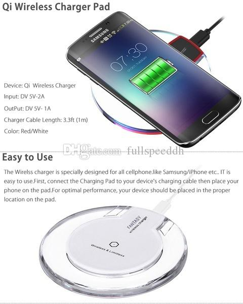 Almofada de carregamento redonda de cristal nova do carregador sem fio com o receptor para Iphone Samsung I00024